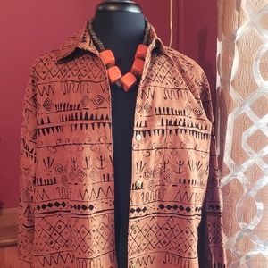 Chico's Jacket nice brown with Aztec  designs